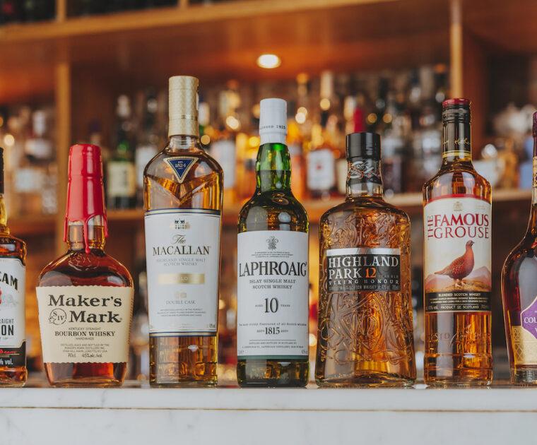Spirits bottles on a bar